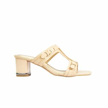 101207 Everbest Women Shoes - Ladies Leather Mid Heel Slip-on Sandals